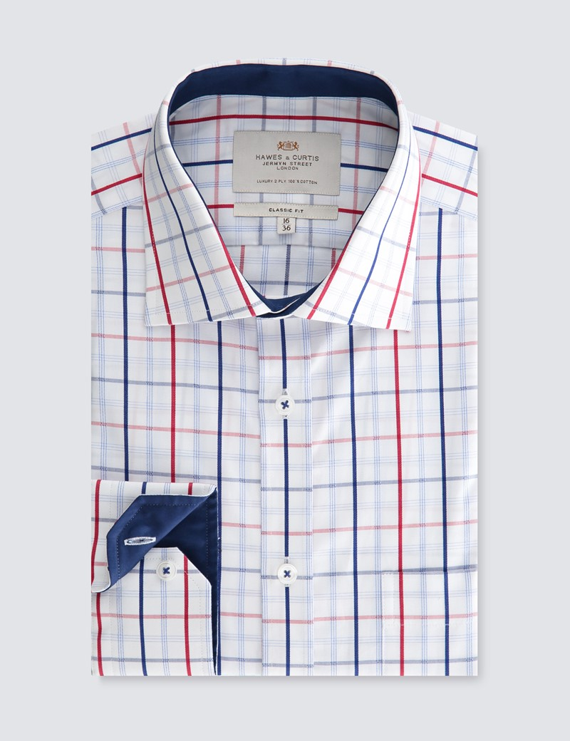 Men's Dress Navy & Red Plaid Classic Fit Shirt - Single Cuff - Chest Pocket - Easy Iron