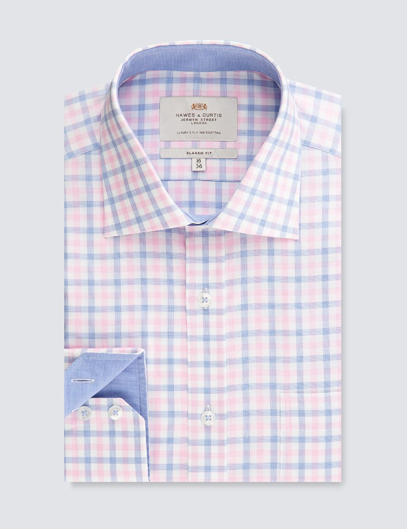 Men's Business Pink & Blue Multi Check Classic Fit Shirt - Single Cuff