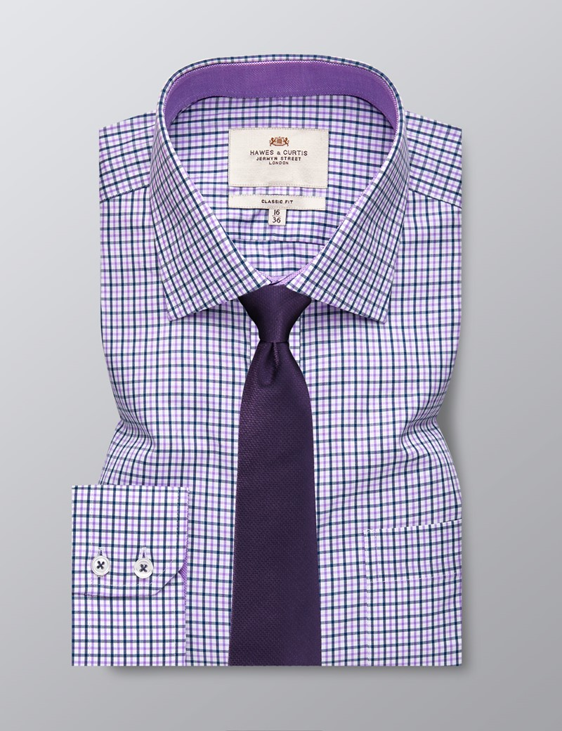 Men's Business Navy & Lilac Multi Check Classic Fit Shirt - Single Cuff