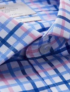 Easy Iron Pink & Blue Multi Check Classic Fit Shirt - Semi Cutaway Collar