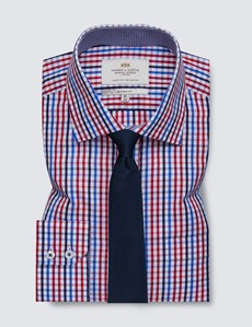 Easy Iron Red & Navy Multi Check Classic Fit Shirt - Semi Cutaway Collar