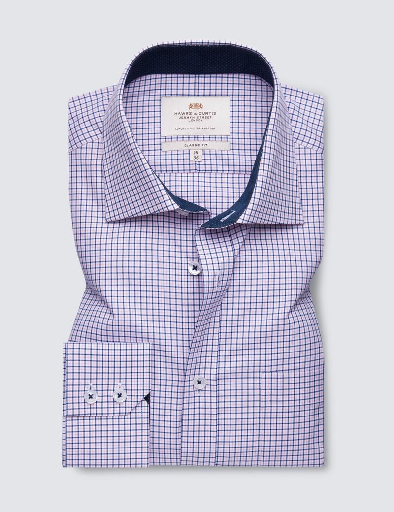 Bügelleichtes Businesshemd – Classic Fit – Kentkragen – lila blau Gitterkaro
