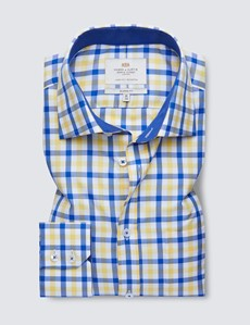 Easy Iron Blue & Yellow Multi Check Classic Fit Shirt - Contrast Detail