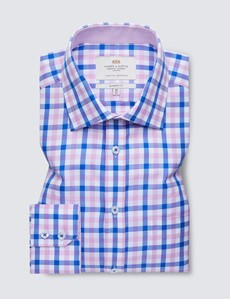 Easy Iron Pink & Blue Multi Check Classic Fit Shirt - Contrast Detail