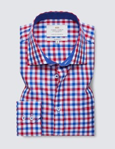 Easy Iron Red & Blue Multi Check Classic Fit Shirt - Contrast Detail