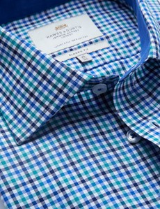 Easy Iron Green & Blue Multi Check Classic Fit Shirt with Contrast Detail