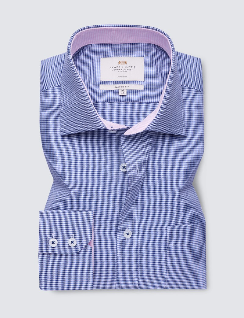 Non Iron Men's Formal Navy & White Dogstooth Classic Fit Shirt with Contrast Details