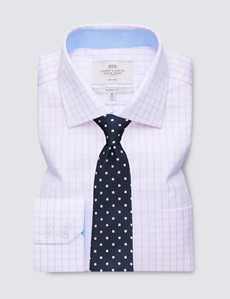 Non Iron Men's Business Pink & White Textured Check Classic Fit Shirt with Contrast Details