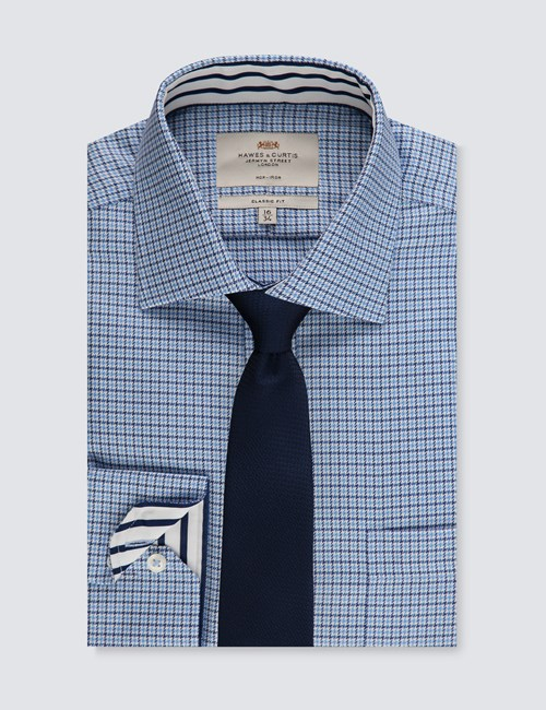 Men's Blue & Navy Weekender Plaid Classic Fit Shirt - Single Cuff - Non Iron