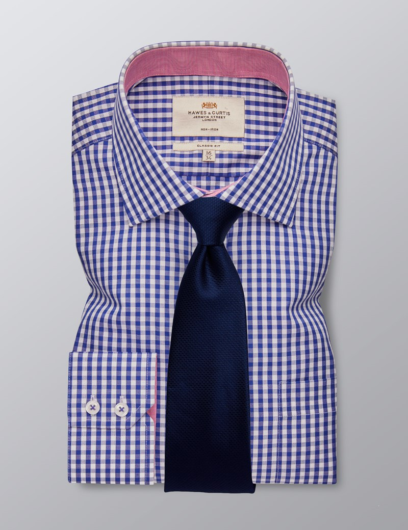 Men's Dress Navy & White Gingham Plaid Classic Fit Shirt - Single Cuff - Chest Pocket - Non Iron