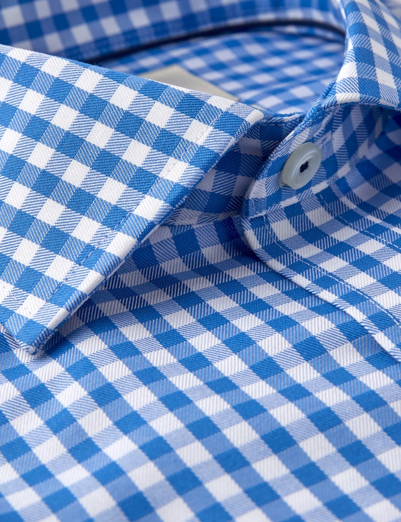 Men's Dress Blue & White Gingham Plaid Classic Fit Shirt - Single Cuff - Chest Pocket - Non Iron