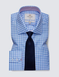 Men's Dress Blue & White Large Gingham Classic Fit Shirt with Single Cuffs and Chest Pocket - Non Iron