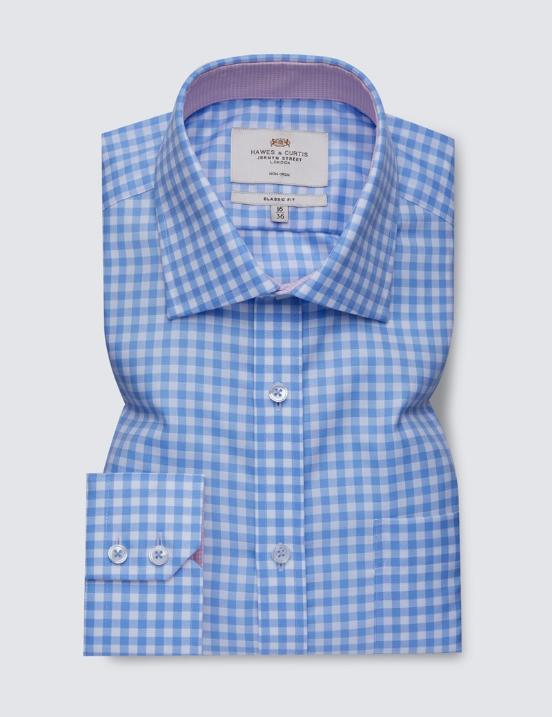 Men's Business Blue & White Large Gingham Classic Fit Shirt with Single Cuffs and Chest Pocket - Non Iron