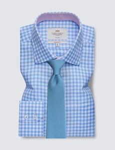 Non Iron Blue & White Bold Check Classic Fit Shirt - Semi Cutaway Collar