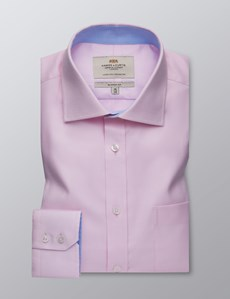 Men's Formal Pink Fabric Interest Classic Fit Shirt - Single Cuff - Chest Pocket - Easy Iron