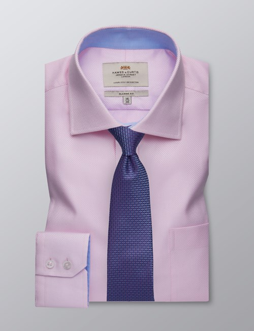 Men's Dress Pink Fabric Interest Classic Fit Shirt - Single Cuff - Chest Pocket - Easy Iron