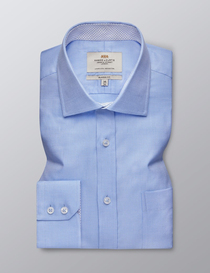 Men's Business Blue Classic Fit Shirt - Single Cuff - Chest Pocket - Easy Iron