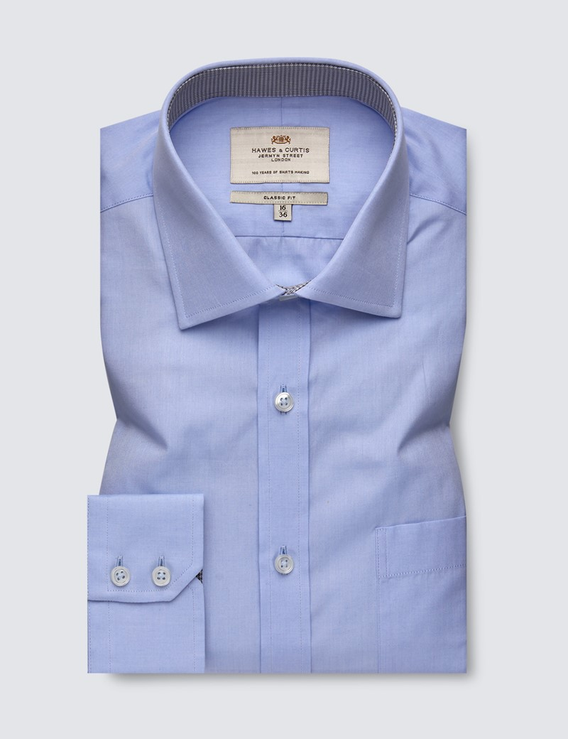 Men's Dress Blue Classic Fit Shirt with Single Cuffs and Chest Pocket - Easy Iron