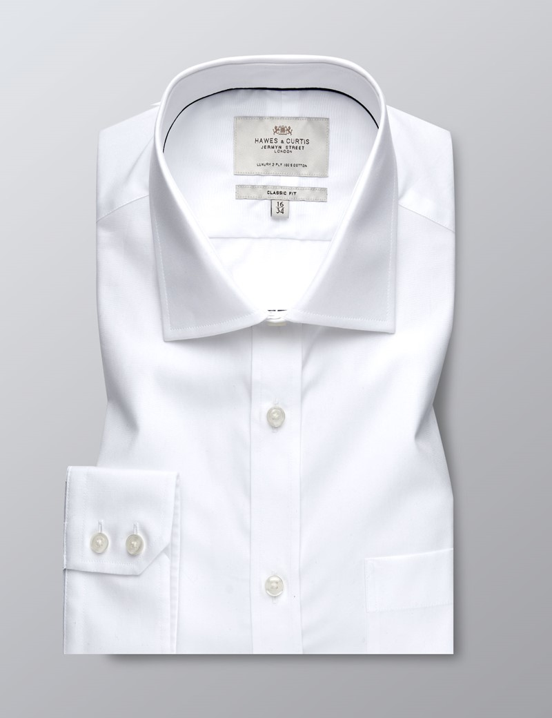 Men's Dress White Poplin Classic Fit Shirt - Single Cuff - Chest Pocket - Easy Iron
