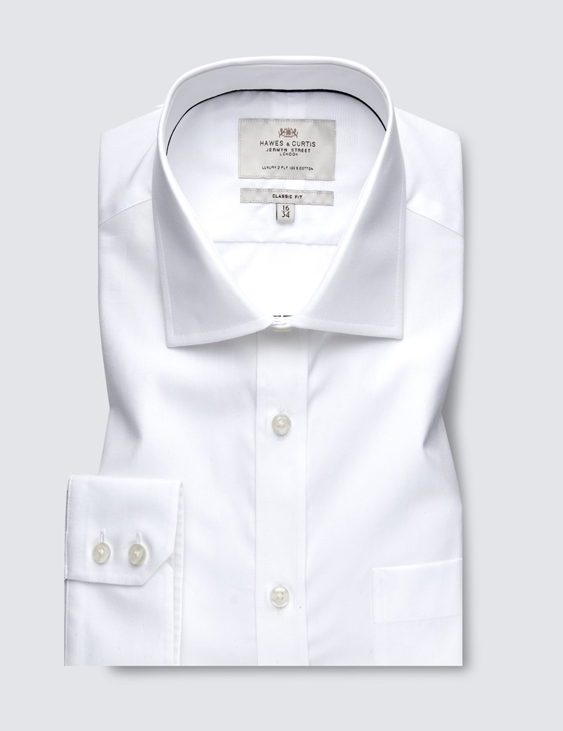 Men's Formal White Poplin Classic Fit Shirt - Single Cuff - Chest Pocket - Easy Iron