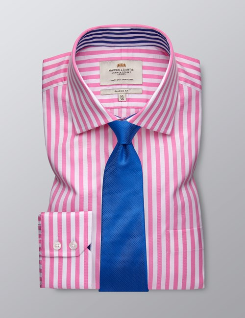 Men's Business Pink & White Bold Stripe Classic Fit Shirt - Single Cuff - Chest Pocket - Easy Iron