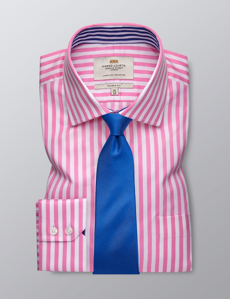 Men's Formal Pink & White Bold Stripe Classic Fit Shirt - Single Cuff - Chest Pocket - Easy Iron