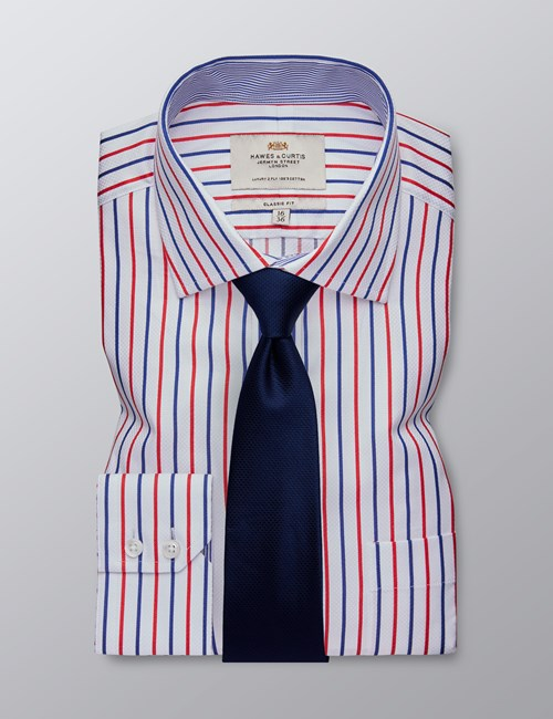 Men's Dress Red & Navy Multi Stripe Classic Fit Shirt - Single Cuff - Chest Pocket - Easy Iron
