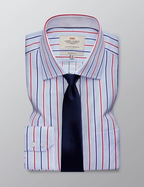 Men's Business Blue & Red Multi Stripe Classic Fit Shirt - Single Cuff - Chest Pocket - Easy Iron