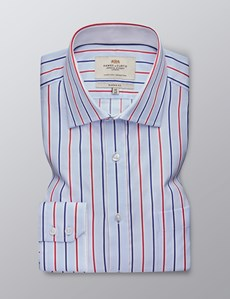 Men's Dress Blue & Red Multi Stripe Classic Fit Shirt - Single Cuff - Chest Pocket - Easy Iron
