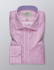 Men's Formal Pink & White Bengal Stripe Classic Fit Shirt - Single Cuff - Chest Pocket - Easy Iron