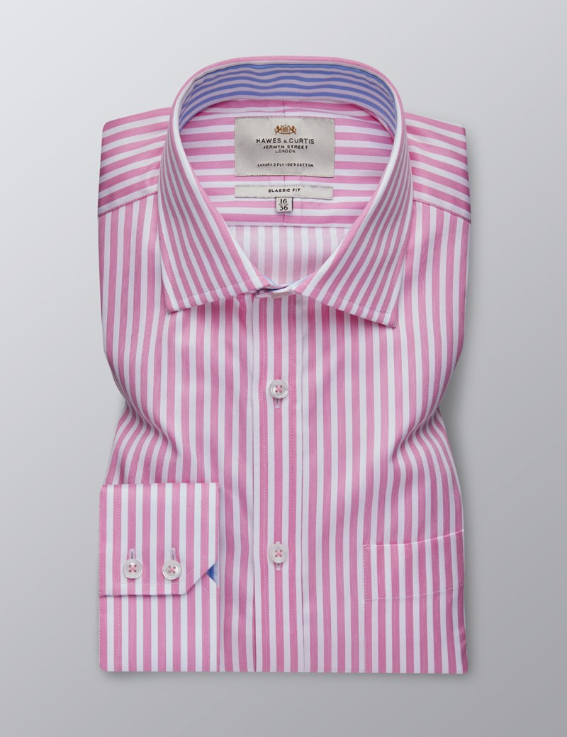 Men's Dress Pink & White Bengal Stripe Classic Fit Shirt - Single Cuff - Chest Pocket - Easy Iron