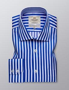 Men's Dress Blue & White Stripe Classic Fit Shirt - Single Cuff - Chest Pocket - Easy Iron
