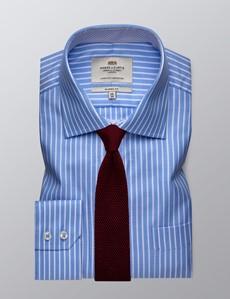 Businesshemd – Classic Fit – Brusttasche – Blau & weiß gestreift