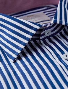 Men's Formal Navy & White Bengal Stripe Classic Fit Shirt - Single Cuff - Chest Pocket - Easy Iron