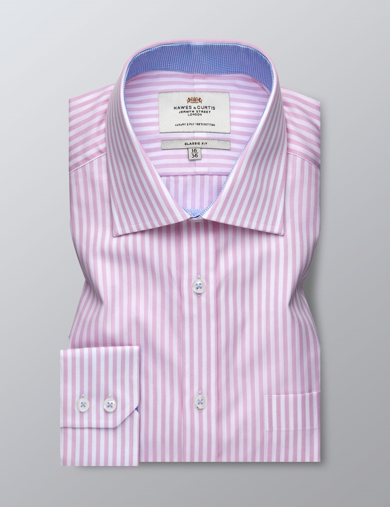 Men's Business Pink & White Bengal Stripe Classic Fit Shirt - Single Cuff - Chest Pocket - Easy Iron