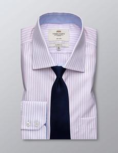 Men's Formal Pink & White Multi Stripe Classic Fit Shirt - Single Cuff - Chest Pocket - Non Iron