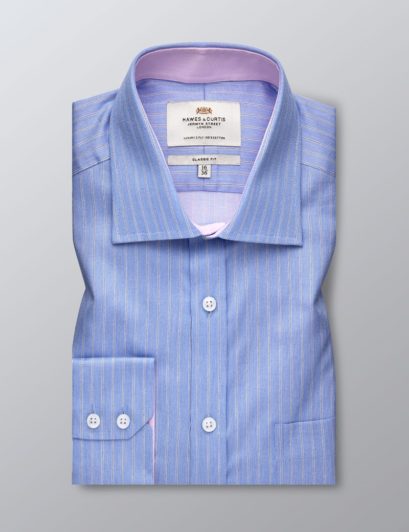 Men's Formal Blue & White Multi Stripe Classic Fit Shirt - Single Cuff - Chest Pocket - Non Iron