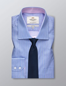 Men's Dress Blue & White Multi Stripe Classic Fit Shirt - Single Cuff - Chest Pocket - Non Iron