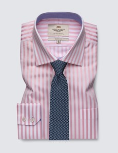 Men's Formal Pink & White Stripe Classic Fit Shirt with Single Cuffs and Chest Pocket - Easy Iron