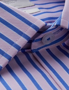 Men's Dress Pink & Blue Multi Stripe Classic Fit Shirt with Single Cuffs and Chest Pocket - Easy Iron