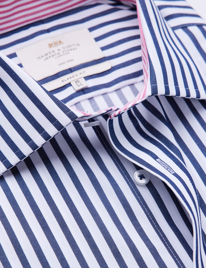 Non Iron Men's Formal Navy & White Stripe Classic Fit Shirt with Contrast Details