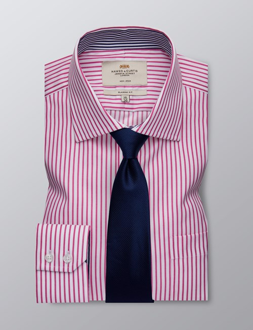 Men's Dress Fuchsia & White Stripe Classic Fit Shirt - Single Cuff - Chest Pocket - Non Iron