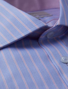 Men's Dress Pink & Blue Wide Stripe Classic Fit Shirt - Single Cuff - Chest Pocket - Non Iron