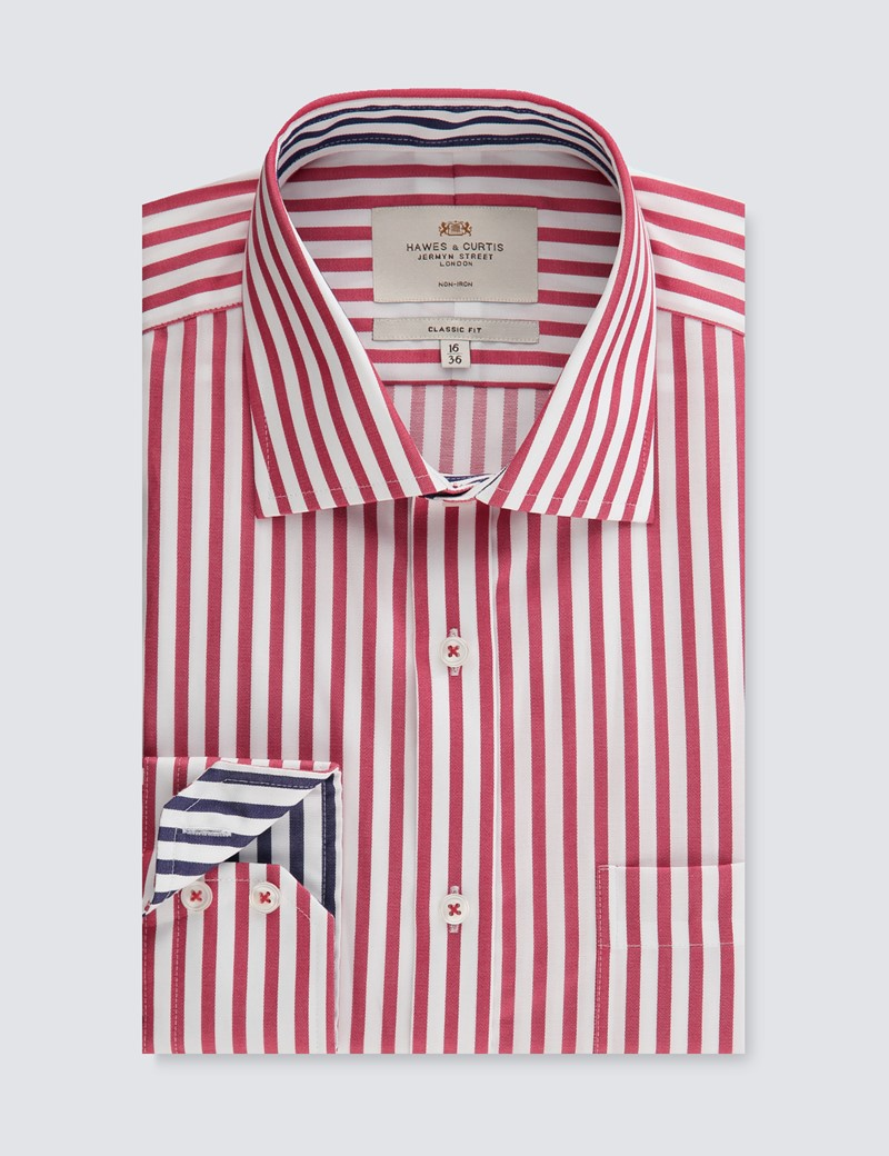 Men's Business Red & White Bengal Stripe Classic Fit Shirt - Single Cuff - Non Iron
