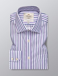 Men's Formal Navy & Purple Multi Stripe Classic Fit Shirt - Single Cuff - Non Iron