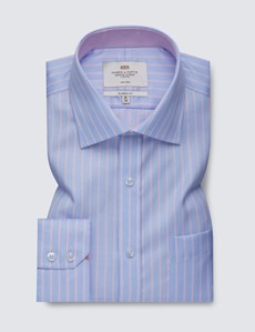 Men's Business Blue & Pink Multi Stripe Classic Fit Shirt with Single Cuffs and Chest Pocket - Non Iron