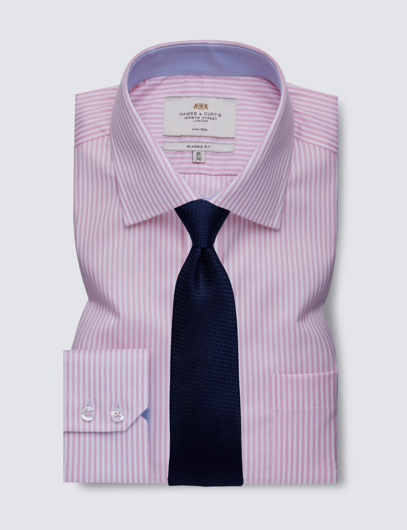 Men's Business Pink & White Bengal Stripe Classic Fit Shirt with Single Cuffs and Chest Pocket - Non Iron