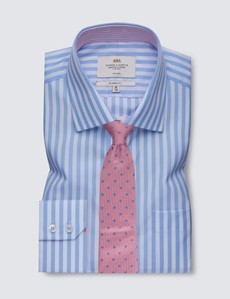 Men's Blue & White Bold Stripe Classic Fit Shirt with Single Cuffs and Chest Pocket - Non Iron
