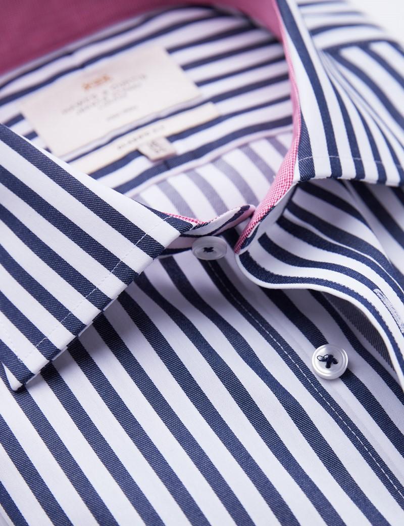 Non Iron Navy & White Bold Stripe Classic Fit Shirt - Semi Cutaway Collar