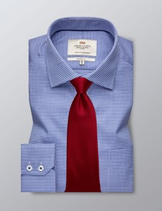 Men's Dress Navy & Blue Dobby Classic Fit Shirt - Single Cuff - Chest Pocket - Easy Iron